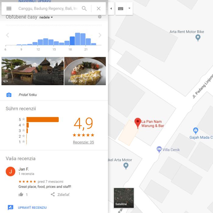google maps - hodnotenie